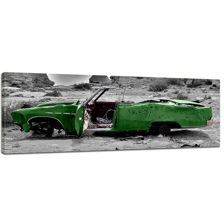 Kunstdruck - Cadillac - grün - Bild auf Leinwand - 160x50 cm - Leinwandbilder - Motorisiert - Amerika - Landschaften - Autowrack in der Wüste