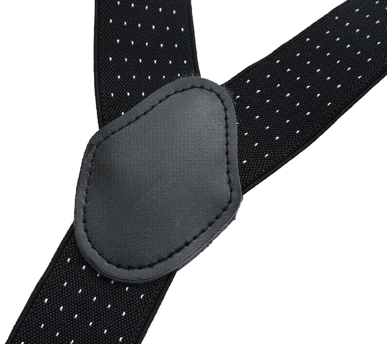 35 mm de ancho y longitud ajustable Tirantes para hombres Tirantes el/ásticos fuertes Tirantes dobles convertibles Botones de cuero real Extremo