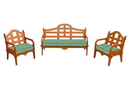 3 Piece Bamboo Sofa Set (1 Sofa And 2 Lounge Chairs), 3