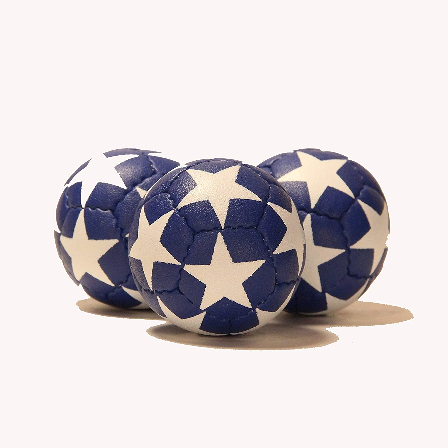 Zeekio Satellite Juggling Ball Set of 3 Millet filled 67mm 125g Great Grip 12 Panel 3 Ball Blue with White Stars