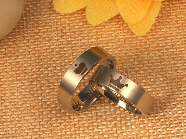 fa91c363e326 Epinki 6mm Acero Inoxidable Anillo King y Queen Anillos de Pareja ...