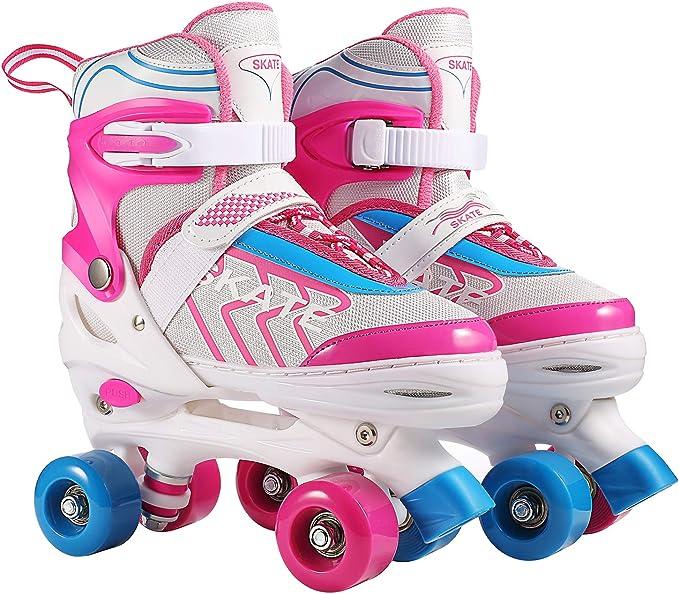 komfortable Roller-Skates f/ür M/ädchen und Jungen LED Rollschuhe f/ür Kinder und Jugendliche ideal f/ür Anf/änger Apollo Super Quad X Pro