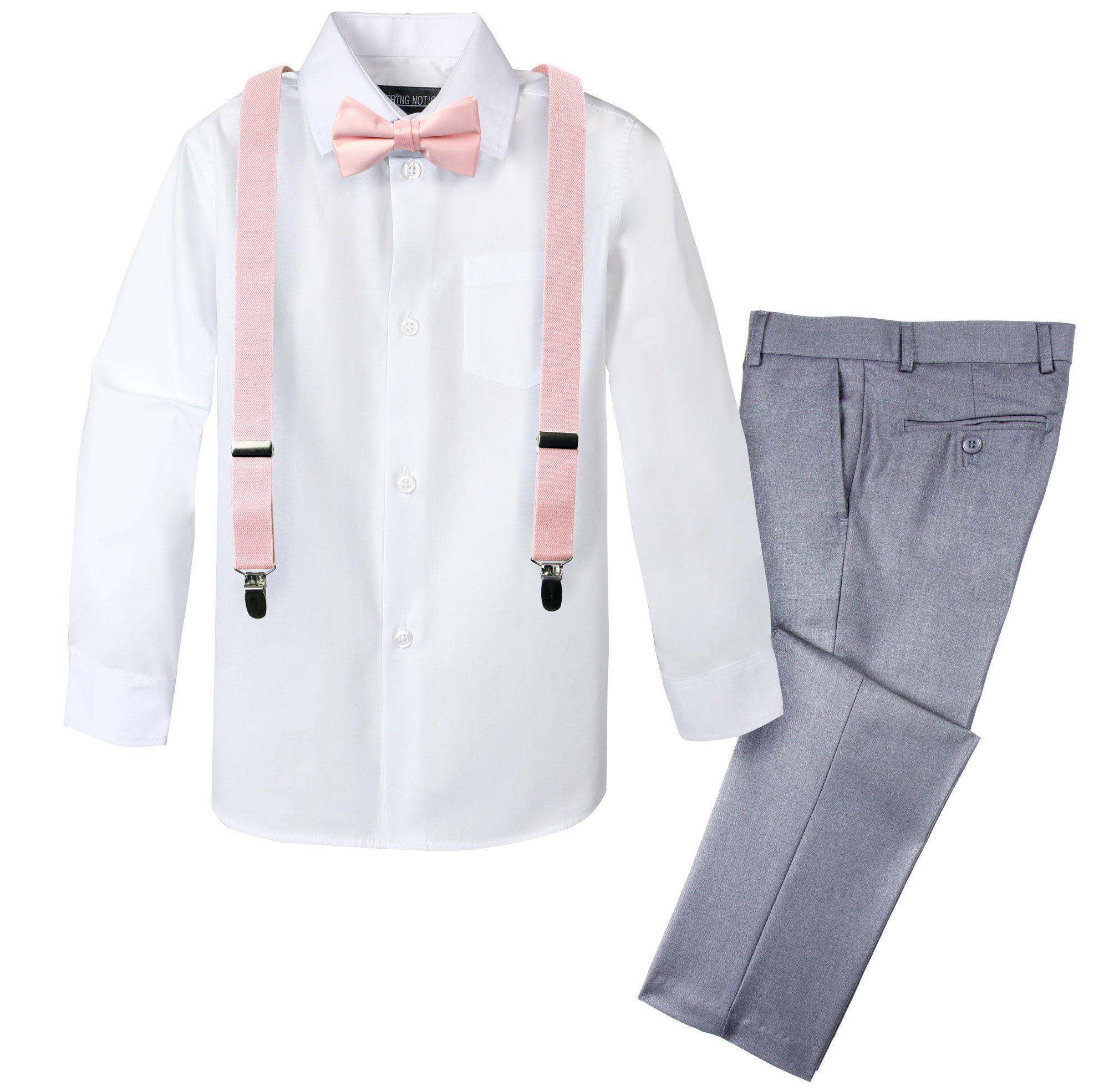 Spring Notion Boys' 4-Piece Dress up Pants Set 4T Light Grey/Blush Pink