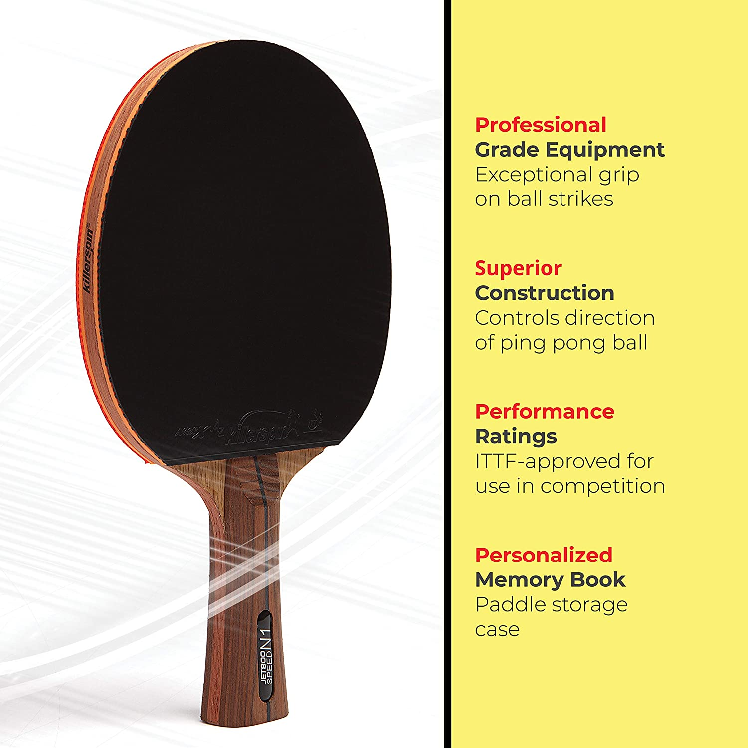 Killerspin Jet 800 Table Tennis Paddle, Professional Ping Pong Paddle, Table Tennis Racket with Carbon Fiber Blade, Nitrx Rubber Grips Ping Pong ...