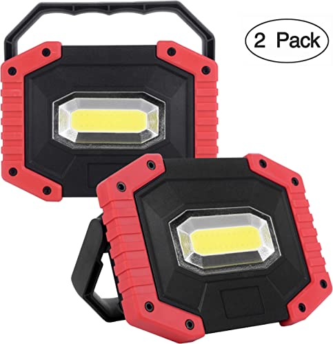UNIKOO Rechargeable Work Light COB 30W 1500LM, Waterproof LED Portable Flood Light for Outdoor Camping Hiking Emergency Car Repairing Fishing W841R-2PACK