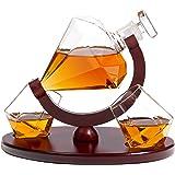 Whiskey Decanter Diamond Shape with 2 Elegant Matching Glasses Mahogany Wooden Tray - Beverage Serveware Dispenser for Spirits, Liquor, Scotch and Cocktails - Impressive Bar Set