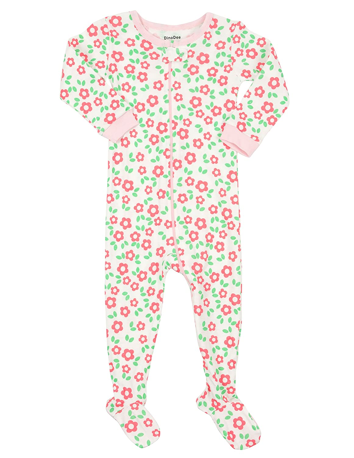99b9a88bcd1d Amazon.com  DinoDee Baby Girls Footed Pajamas Sleeper 100% Cotton ...