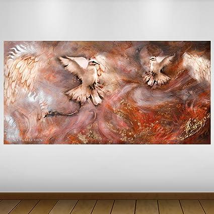 LagunaProject Extra Grande Palomas Blancas de la fantasía de Vinilo Póster - Mural Decoración - Etiqueta