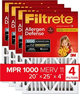 Filtrete MPR 1000 DP 20x25x4 (4-3/8-Inch Depth) AC Furnace Air Filter, Micro Allergen Defense Deep Pleat, 4-Pack