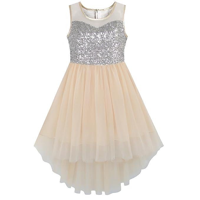 KB21 Girls Dress Beige Sequined Tulle Hi-lo Wedding Party Dress Size 7