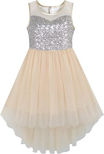 Sunny Fashion Girls Dress Sequin Mesh Party Wedding Princess Tulle Size 7-14 Years