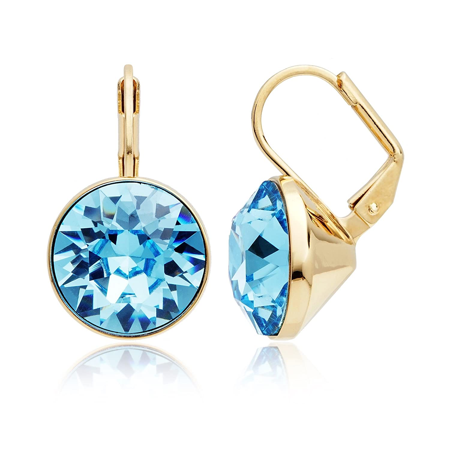 670ebd05d26d Amazon.com  Bella Earrings with 8.5 Carat Aquamarine Swarovski Crystals  Gold Plated  Jewelry