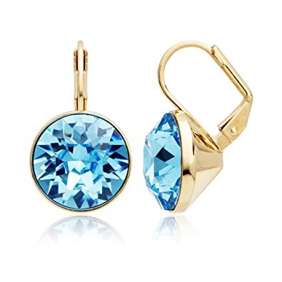 2f13b5592 Amazon.com: Bella Earrings with 8.5 Carat Aquamarine Swarovski ...