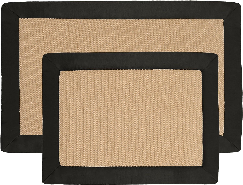 2 pc Memory Foam Bath Mat Set by Lavish Home - Faux Linen Fleece- Black