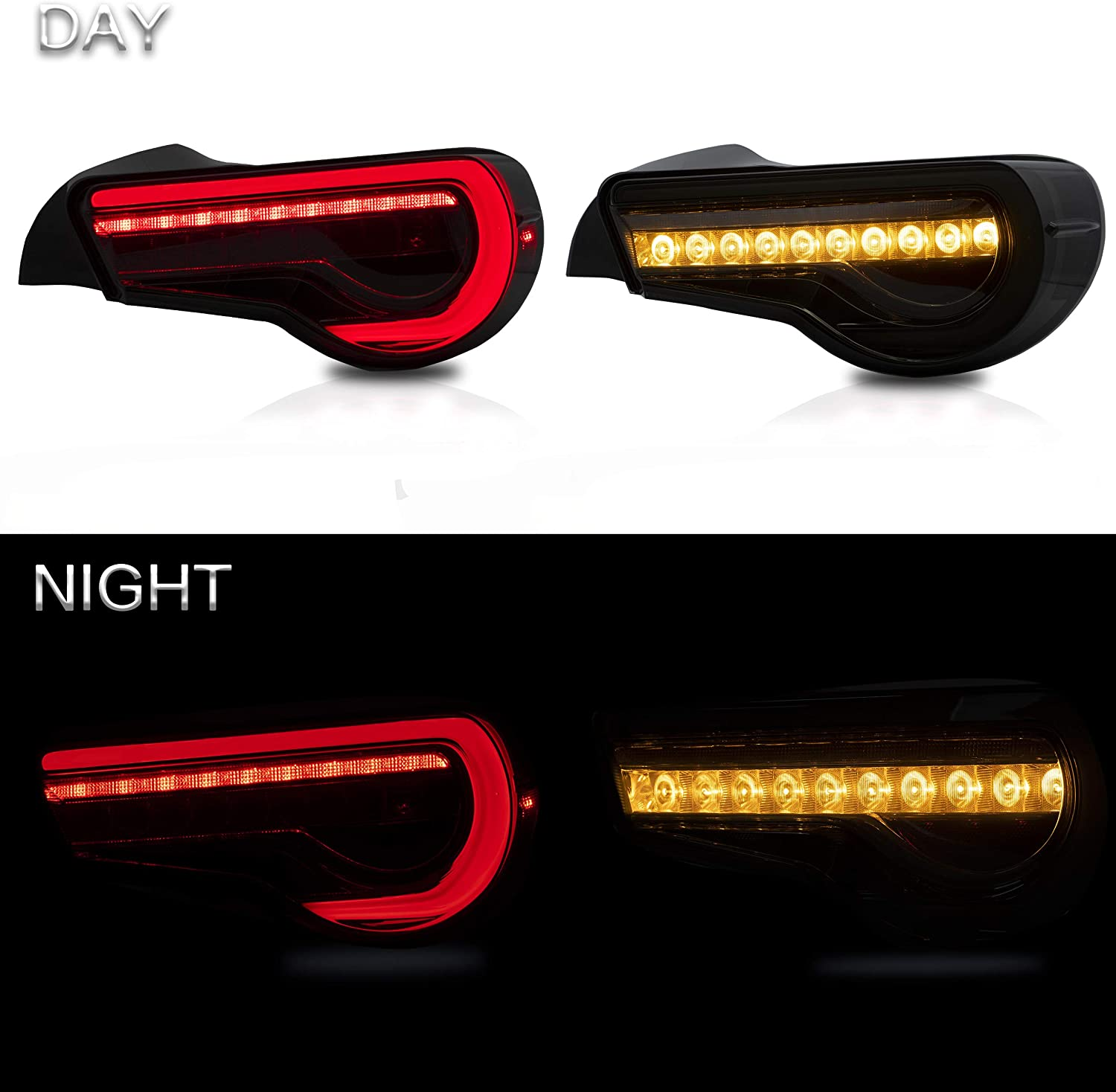 Full LED Plug-and-play,Red VLAND Tail lights Assembly Fit for Toyota 86 2012 2013 2014 2015 2016 2017 2018 2019,Taill Lamp assembly Subaru BRZ//Scion FRS 2012-2019 with Sequential Turn Signal