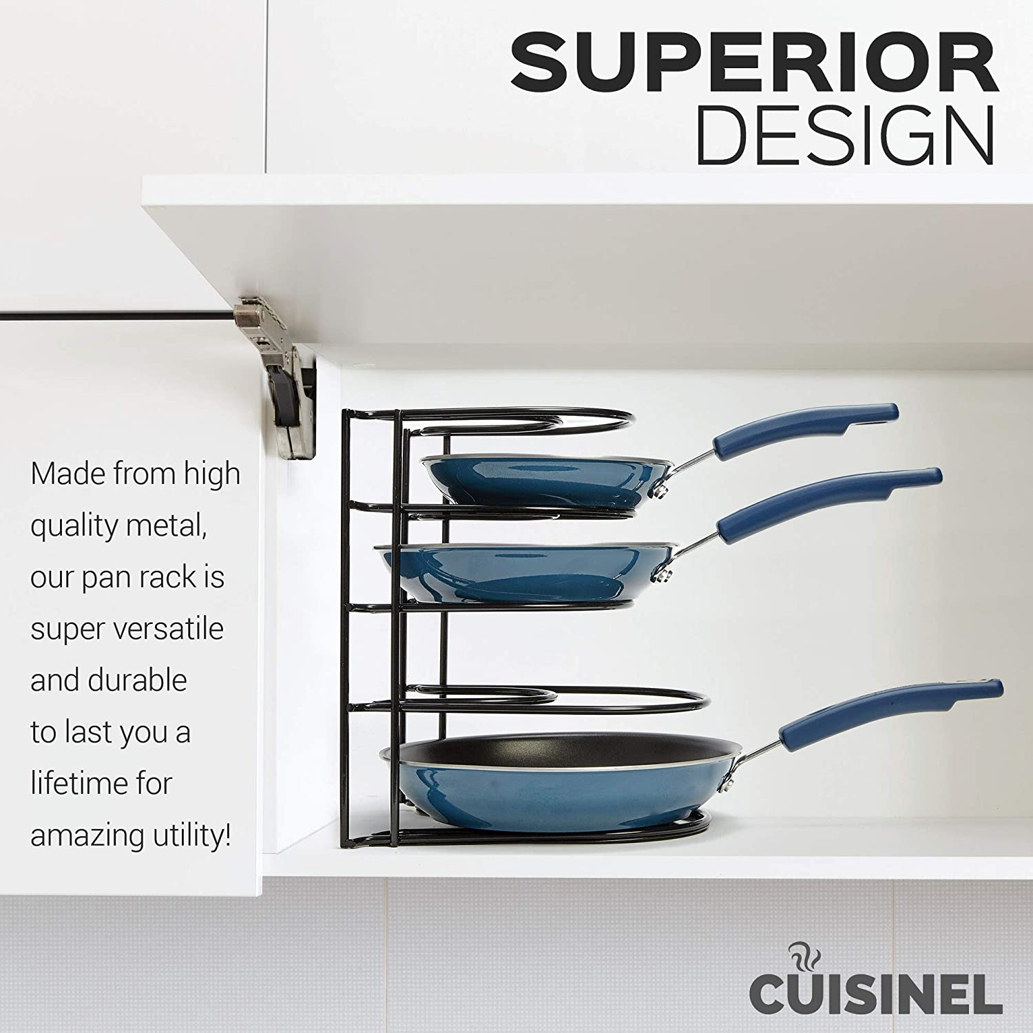 Space Saving Kitchen Storage By cuisinel C-PANRACK Griddles and Shallow Pots Heavy Duty Pan Organizer 5 Tier Rack Holds Cast Iron Skillets Durable Steel Construction