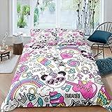 Manfei Lovely Panda Bedding Set 3pcs for Kids Girls Guitar Rainbow Unicorn Decor Comforter Cover Music Theme Duvet Cover Set
