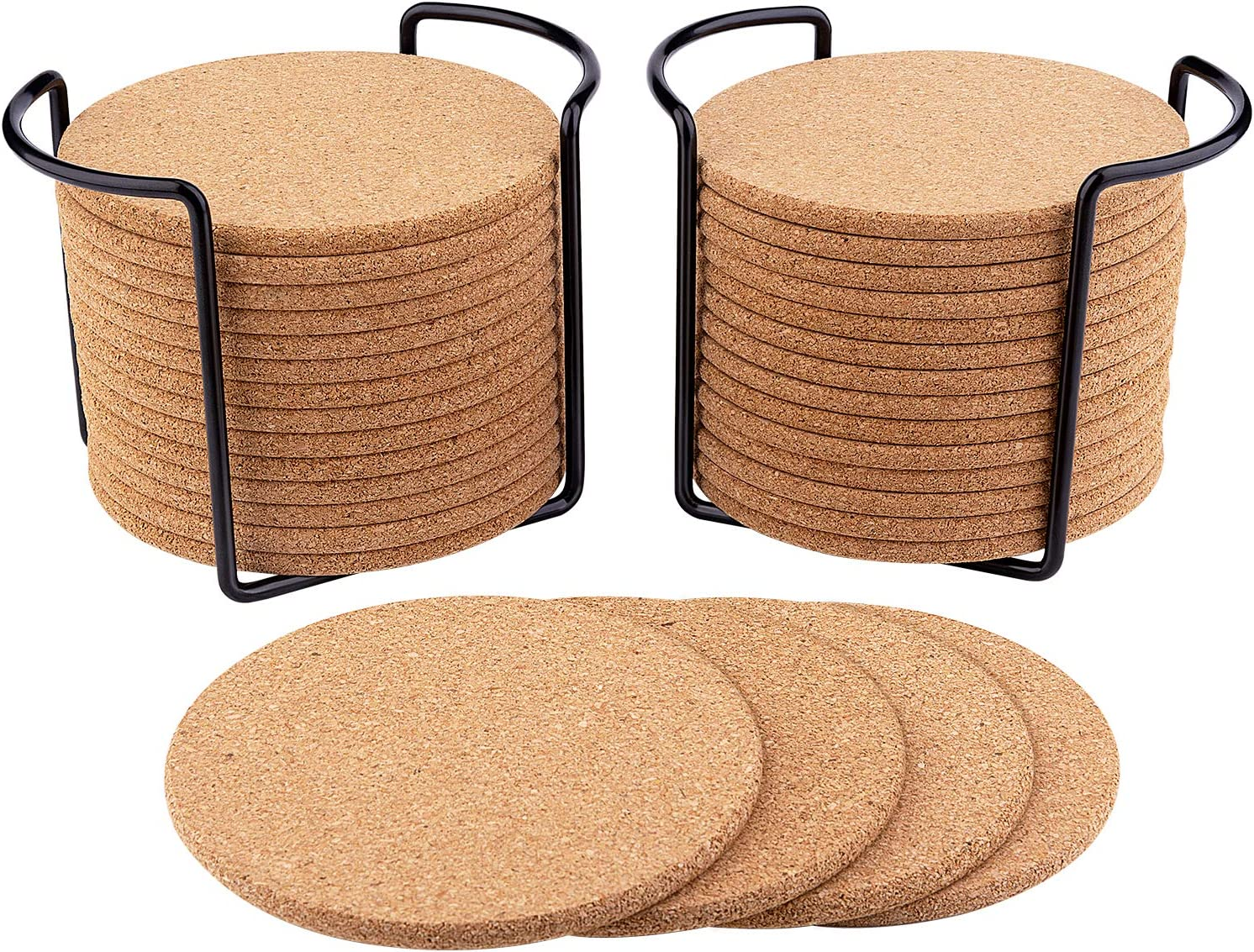 32 Pcs Cork Coasters for Drinks 3.9 Diameter with Metal Holder, Natural Cork Absorbent Coaster Set Round Edge