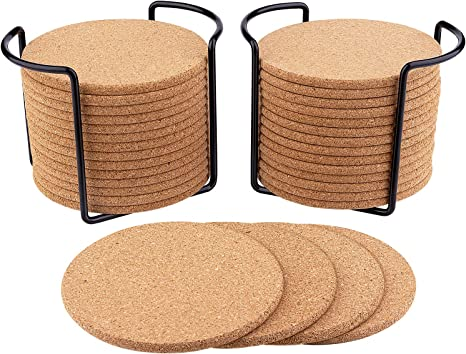 Amazon Com 32 Pcs Cork Coasters For Drinks 3 9 Diameter With Metal Holder Natural Cork Absorbent Coaster Set Round Edge Coasters