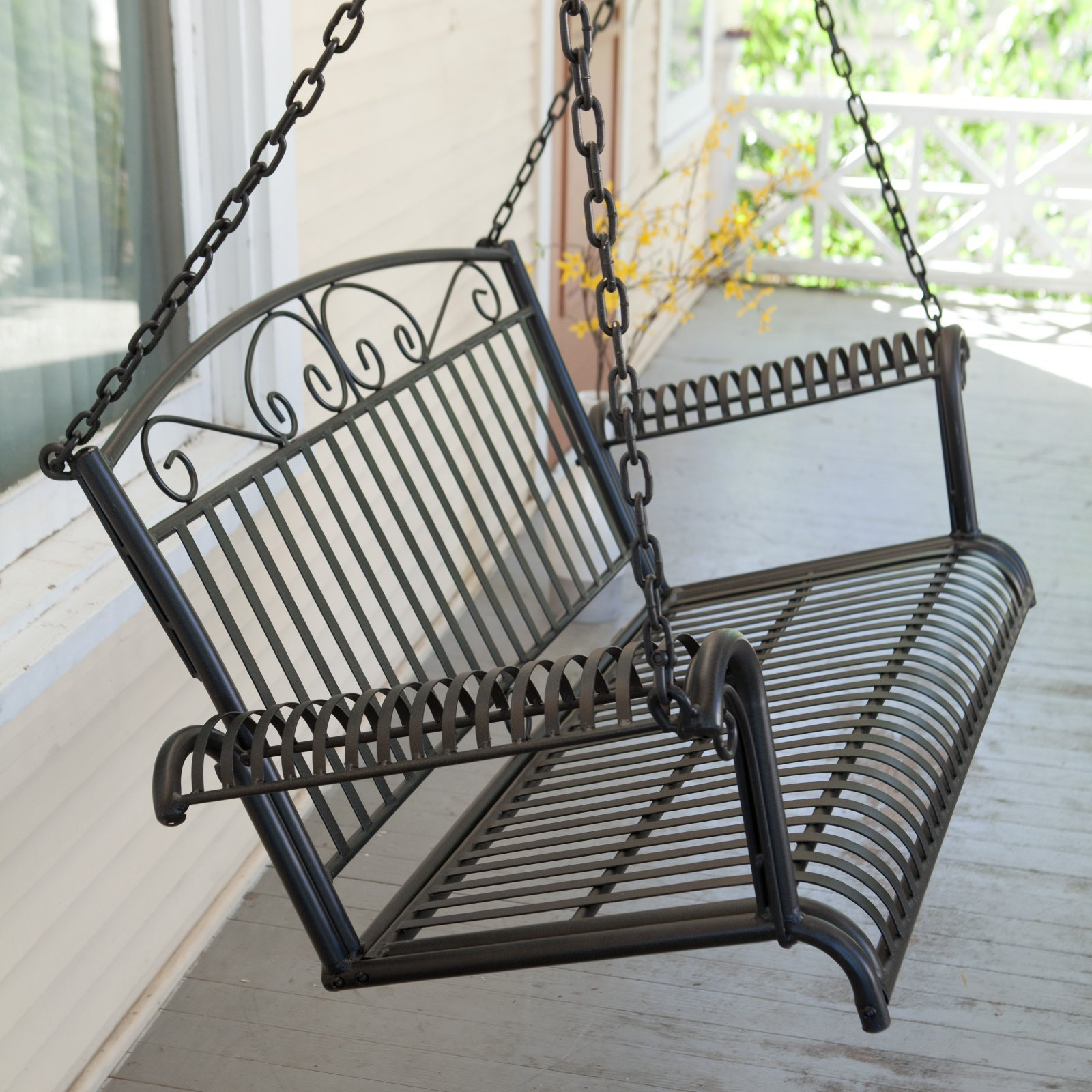International Caravan Tropico Iron Patio Porch Swing in Black by International Caravan