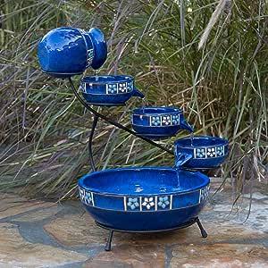 KOVALENTHOR Solar Ceramic Cascade Fountain, Fountain with Decorative Flower Trim, Fountain for Outdoor Use by Smart Solar