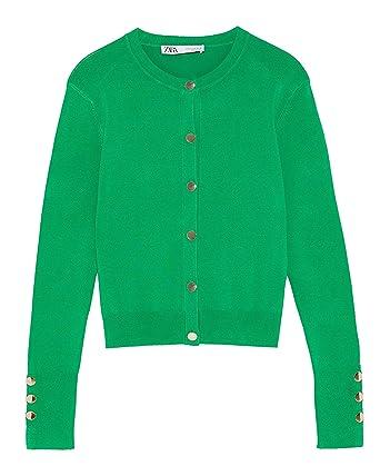 c79dded0 Zara Women's Buttoned Cardigan 8851/002 Green: Amazon.co.uk: Clothing
