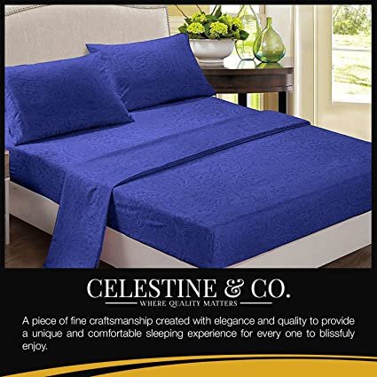 Polyester Bed Sheets (Twin, Royal Blue) Wrinkle Free, Fade Free, Stain