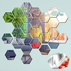 INYOU Mirror Wall Stickers, Mirror Stickers for Wall Self Adhesive, Hexagon Mirror Tiles Stick for Home Wall Décor, Mirror Sets Living Room Bedroom Decor, 40 Pcs