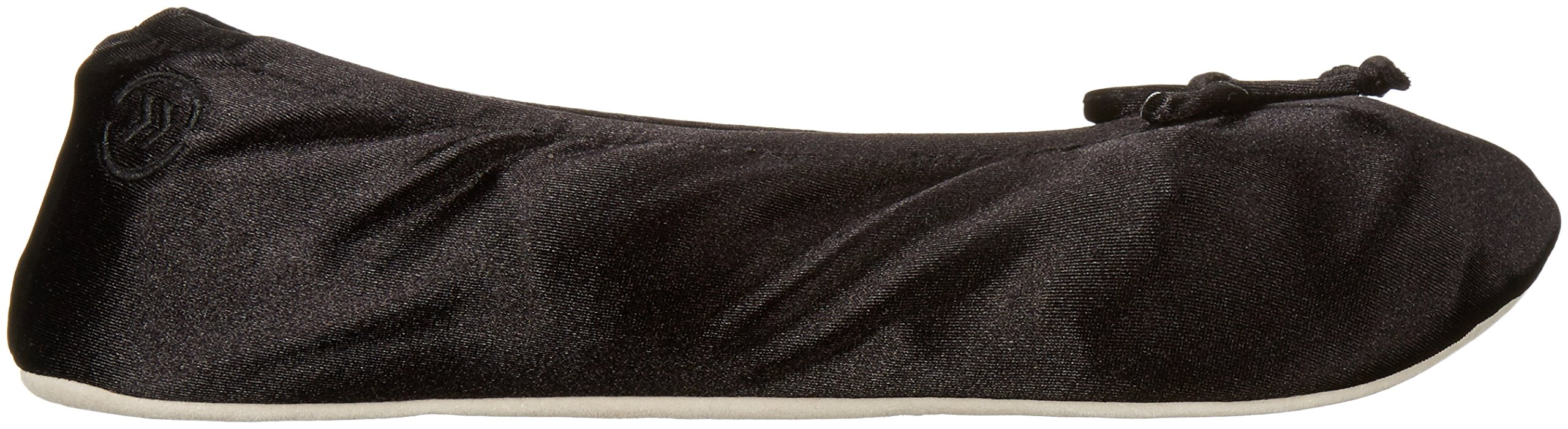 ISOTONER Women's Satin Ballerina Slipper, Black, Large/8-9 M US by ISOTONER (Image #9)