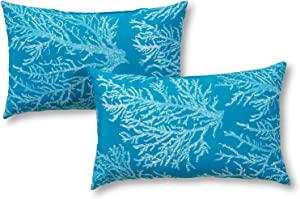 Greendale Home Fashions Set of 2 Outdoor 19x12-inch Rectangle Throw Pillows, Coral Reef
