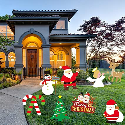 Lskoo Christmas Outdoor Yard Signs Decorations Xmas Holiday Winter Wonderland Yard Sign Outdoor Lawn Yard Decorations