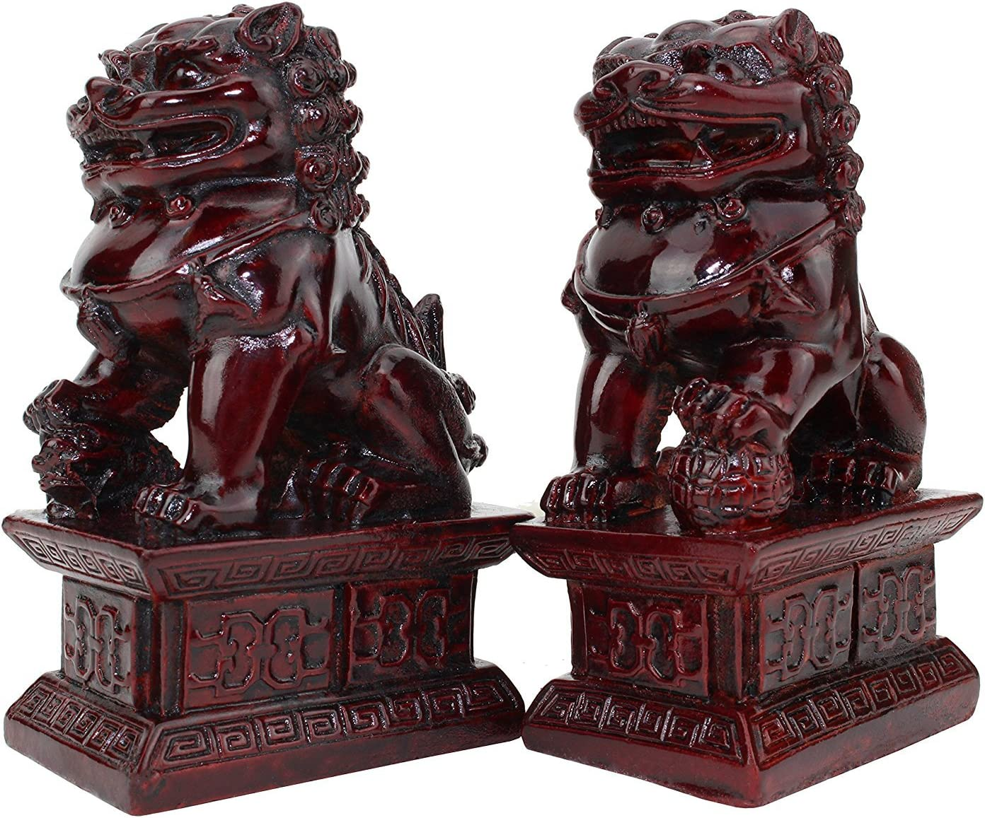 "We pay your sales tax Feng Shui 4"" Fu Foo Dog Guardian Lions Wealth Protection Statue Figurine Housewarming Congratulatory Gift (Red 10034)"