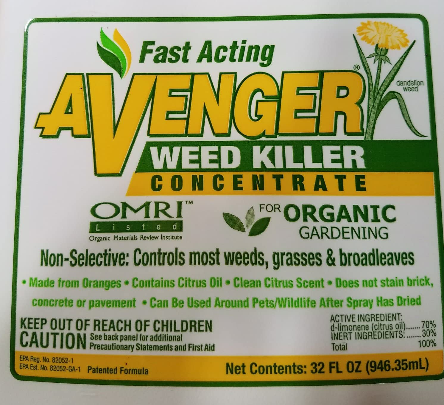 Avenger orgánico herbicida concentrado 2-Pack/biodegradable y no ...