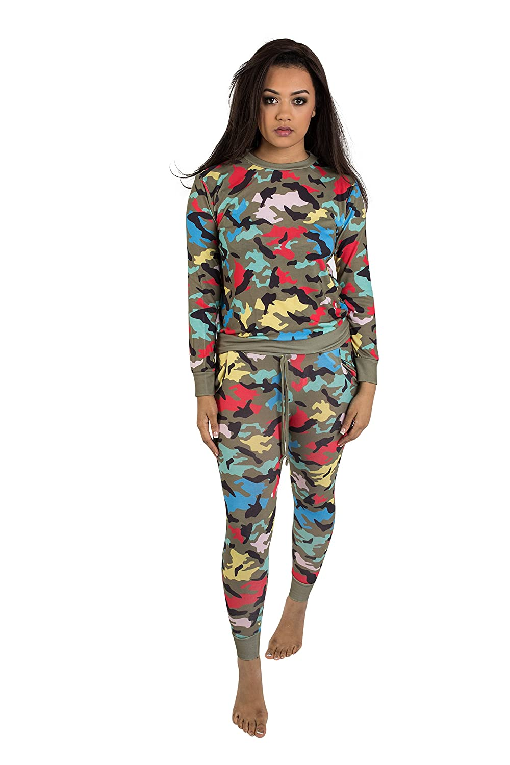 77a0749655ea2 Girl Talk Clothing Womens New Multi Coloured Camo Two Piece Lounge Set at Amazon  Women's Clothing store: