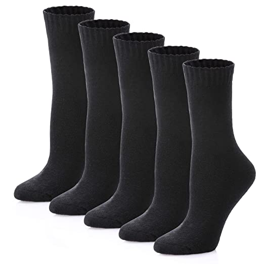 65b2f3be181 LINEMIN Womens Fuzzy Wool Winter Socks Thick Warm Thermal Fleece lined Crew  Socks 5 pack (5 Pack Black Color) at Amazon Women s Clothing store