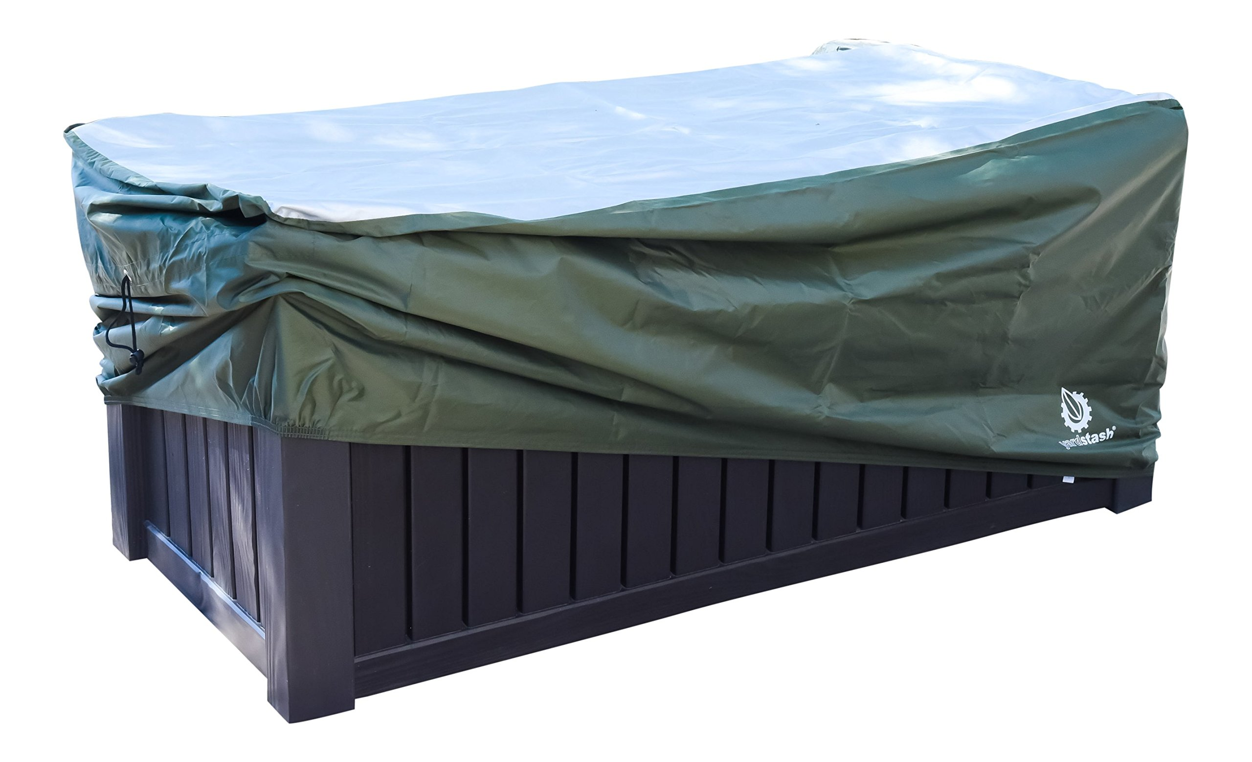 YardStash Deck Box Cover XXL to Protect Extra Wide Deck Boxes: Keter Westwood Deck Box Cover, Keter Rockwood Deck Box Cover, Keter Brightwood Deck Box Cover, Keter Sumatra Deck Box Cover & More by YardStash