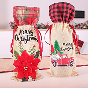 Christmas Wine Bottle Cover, Burlap Wine Bags Wine Gift Bags, Bottle Bags with Drawstring Style Holiday Home Christmas Decorations 2 Pack