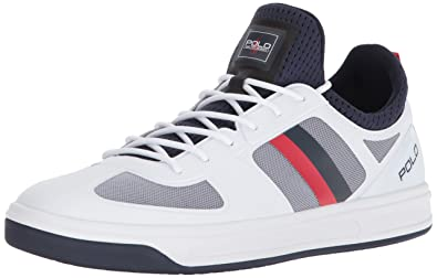 a2e8548ab95d Polo Ralph Lauren Men s COURT200 Sneaker Pure White French Navy rl red 7 D