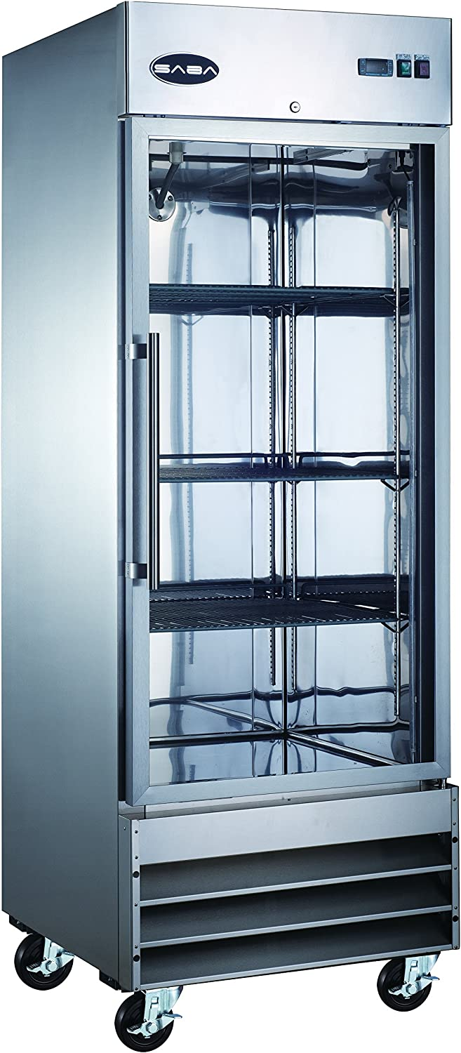 Heavy Duty Commercial Stainless Steel Glass Door Reach-In Freezer (23 cu ft)