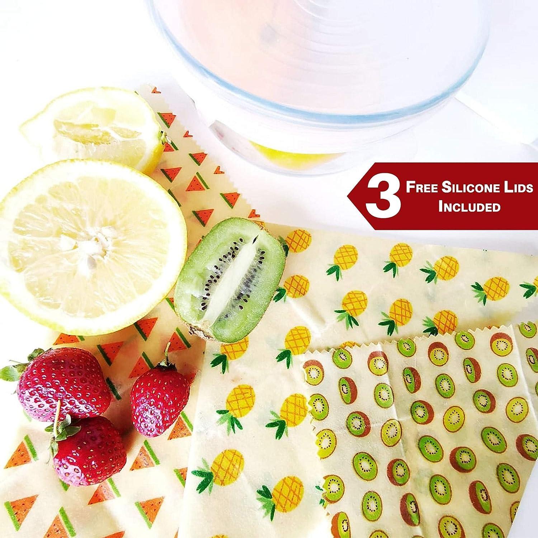Tapas de silicona gratis Envolturas de cera para alimentos 3 juegos Envolturas de cera de abeja - Almacenamiento de desechos cero reutilizable Alternativa ecol/ógica a Clingfilm