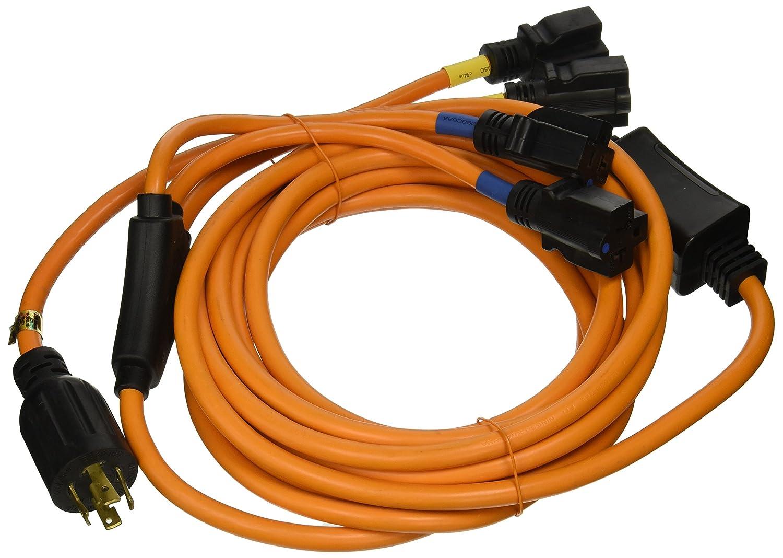 Ceptics GN-CD-1-25 L14-30P to NEMA 5-15/20R Generator Distribution Power Cord (25' Feet, Switch Breaker) - UL Listed, Industrial Grade, Heavy Duty (5 Year Warranty), 25, Orange