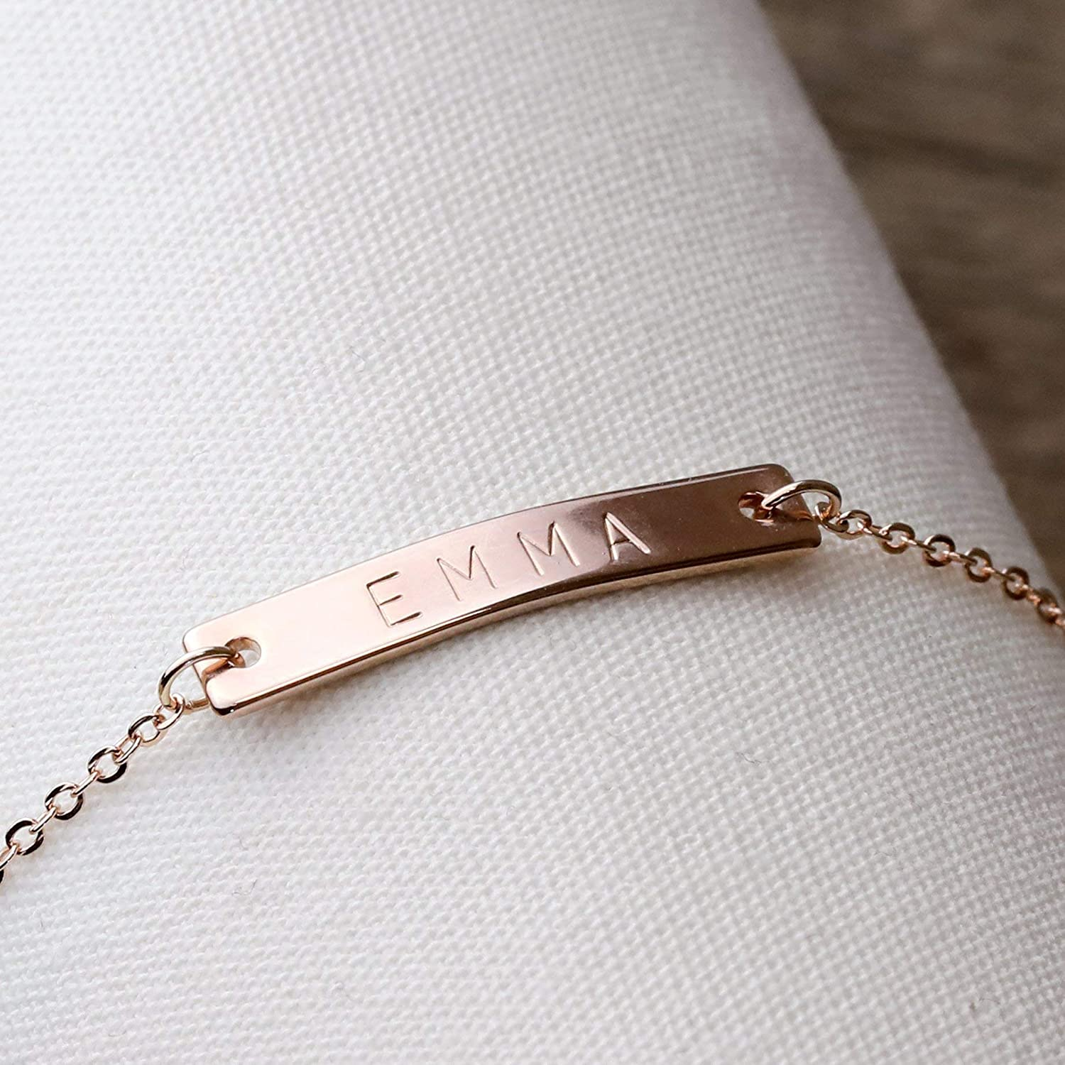 A Personalized Bridesmaid Jewelry Wedding Party Gifts Women Rose Gold Bracelet Flower Girl Gift for Her 3BR