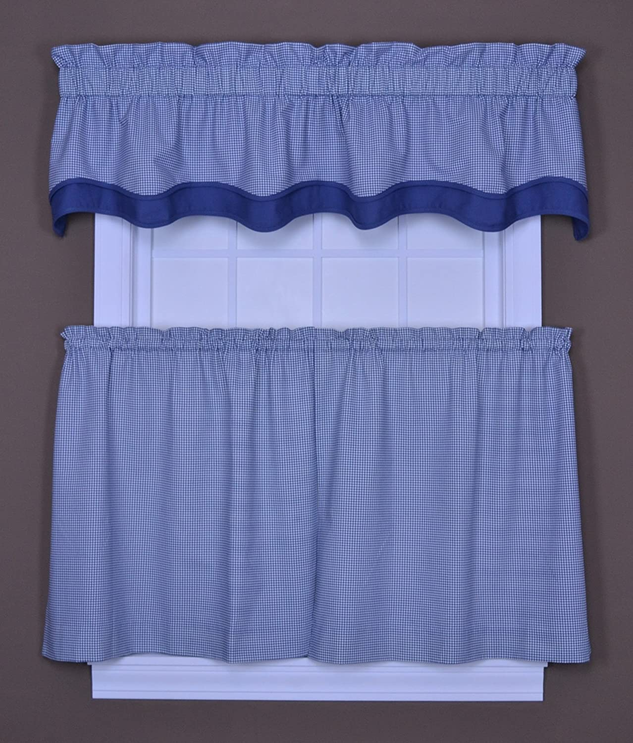 Blue Ellis Curtain 774309 Logan Gingham Check Print 68-Inch by 30-Inch Tailored Tier Curtains