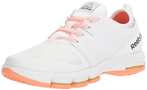19e88812 Reebok Women's Cloudride DMX Walking Shoe, White/Stellar Pink/Carotene, ...