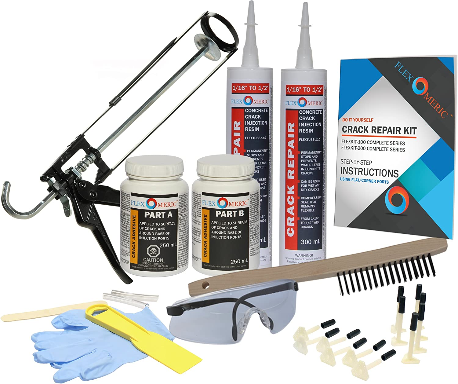 "Complete Foundation Crack Repair Kit - 1/16"" to 1/2"" Wide Cracks  (FLEXKIT-100-COM) - - Amazon.com"