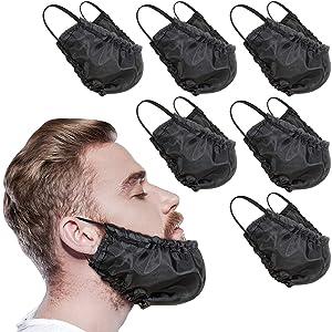 9 Pieces Beard Bandana Beard Covers Facial Beard Apron Caps Facial Beard Guard Bedtime Bib (Black)