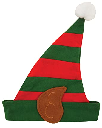 children kids elf hat with ears fleece unisex christmas fancy dress
