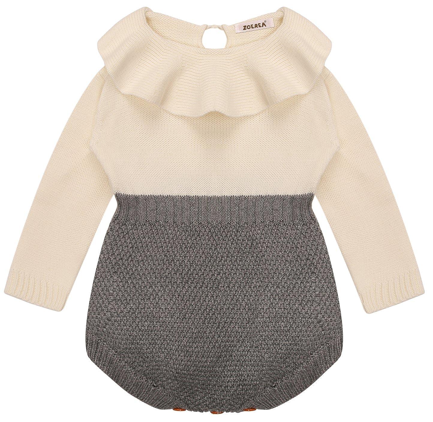 Zoerea Neonata bambina pagliaccetto ragazze lavorata a maglia Vestito Maniche lunghe per 3-36 mesi