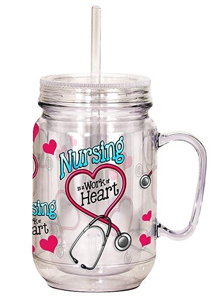 Spoontiques Nurse Mason Jar, Pink