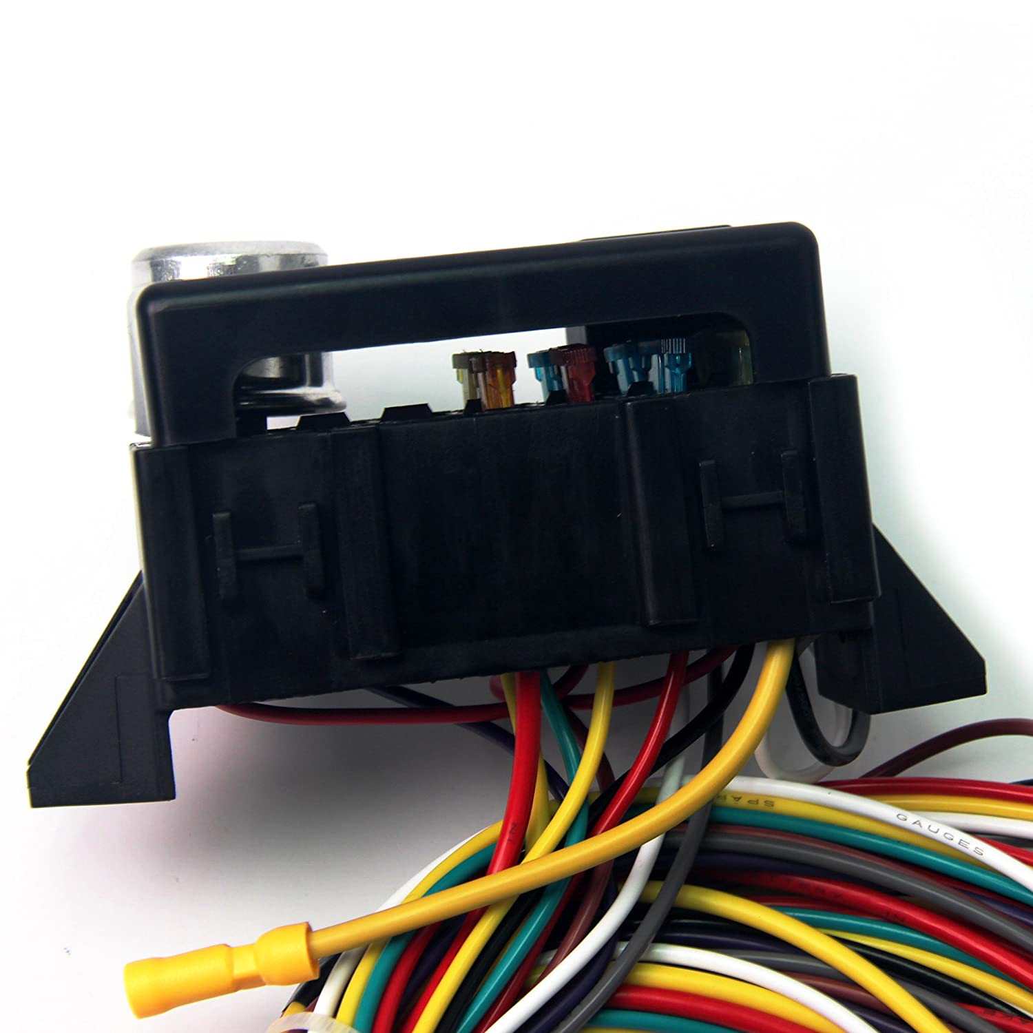 12v 10 circuit basic wiring harness fuse box street hot. Black Bedroom Furniture Sets. Home Design Ideas